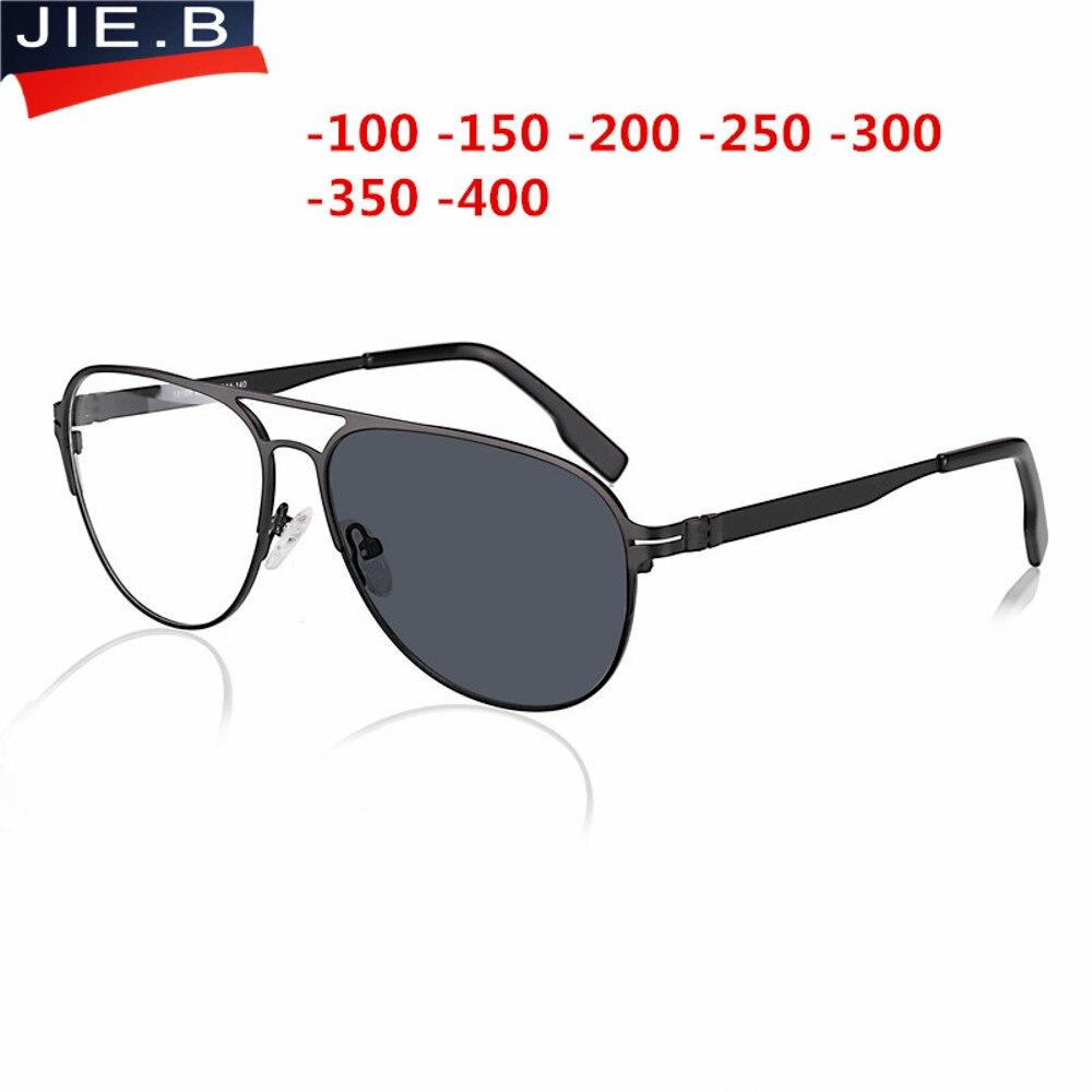 Myopia Sunglasses Finished Men Women Myopia Eyeglasses Frame with CR39 Sun Photochromism gray lens prescription Myopia Eyewear-in Men's Eyewear Frames from Apparel Accessories