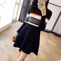 2017 New Vintage Spring Women Casual A-Line Striped Knee-Length Dress Female Fashion Patch Color Knitting Empire O-neck Dress