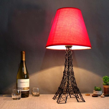 Eiffel iron lamp table lamp bedroom bedside table light study bar room coffee store red white brown cloth desk lamps ZA416617