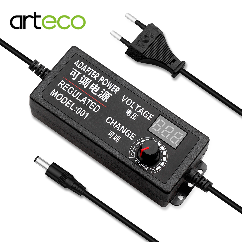 Adjustable <font><b>Power</b></font> <font><b>Adapter</b></font> <font><b>AC</b></font> To DC 3V-12V 3V-24V <font><b>9V</b></font>-24V With Universal Supply Display Screen Volt Switching Charger EU/US Plug image