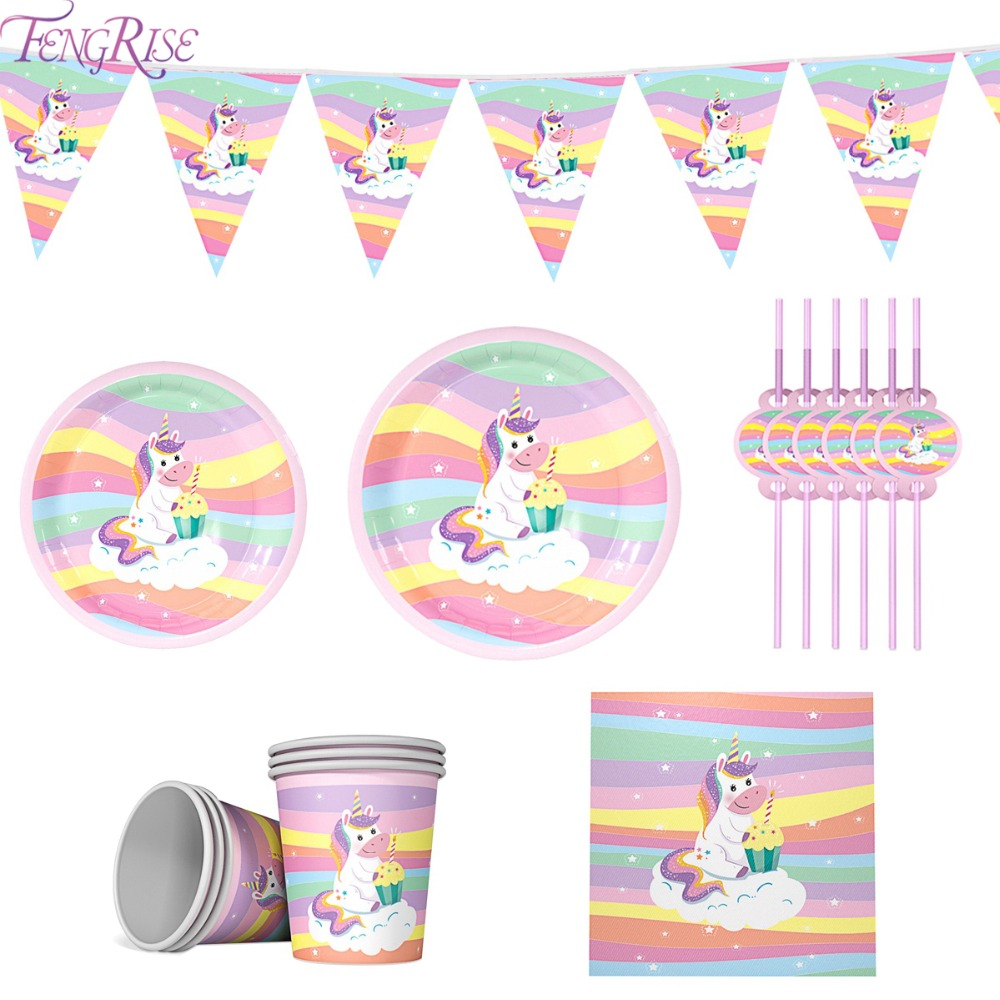 FENGRISE Rainbow Unicorn Disposable Tableware Birthday Party Decor Kids 1st Supplies Baby