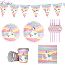 FENGRISE Rainbow Unicorn Disposable Tableware Birthday Party Decor Kids 1st Supplies Baby Shower