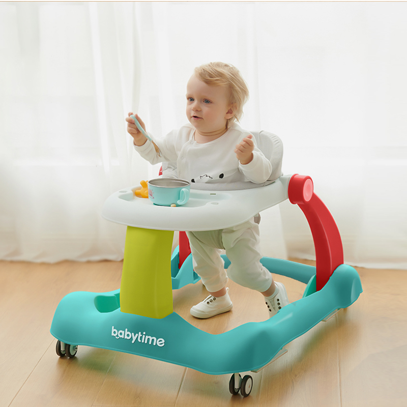 4 In1 Multi-function Baby Walker Anti-rollover Trolley Learning PP Materia  Can Adjustment With Music Game Plate Board 6-18M