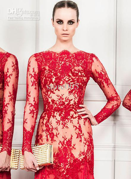 2017 Zuhair Murad Vintage Red Lace Long Sleeves Mermaid Evening Special Occasion Dresses E4615