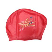 JHO-Silicone Waterproof Swimming Cap – Red & Music Notation