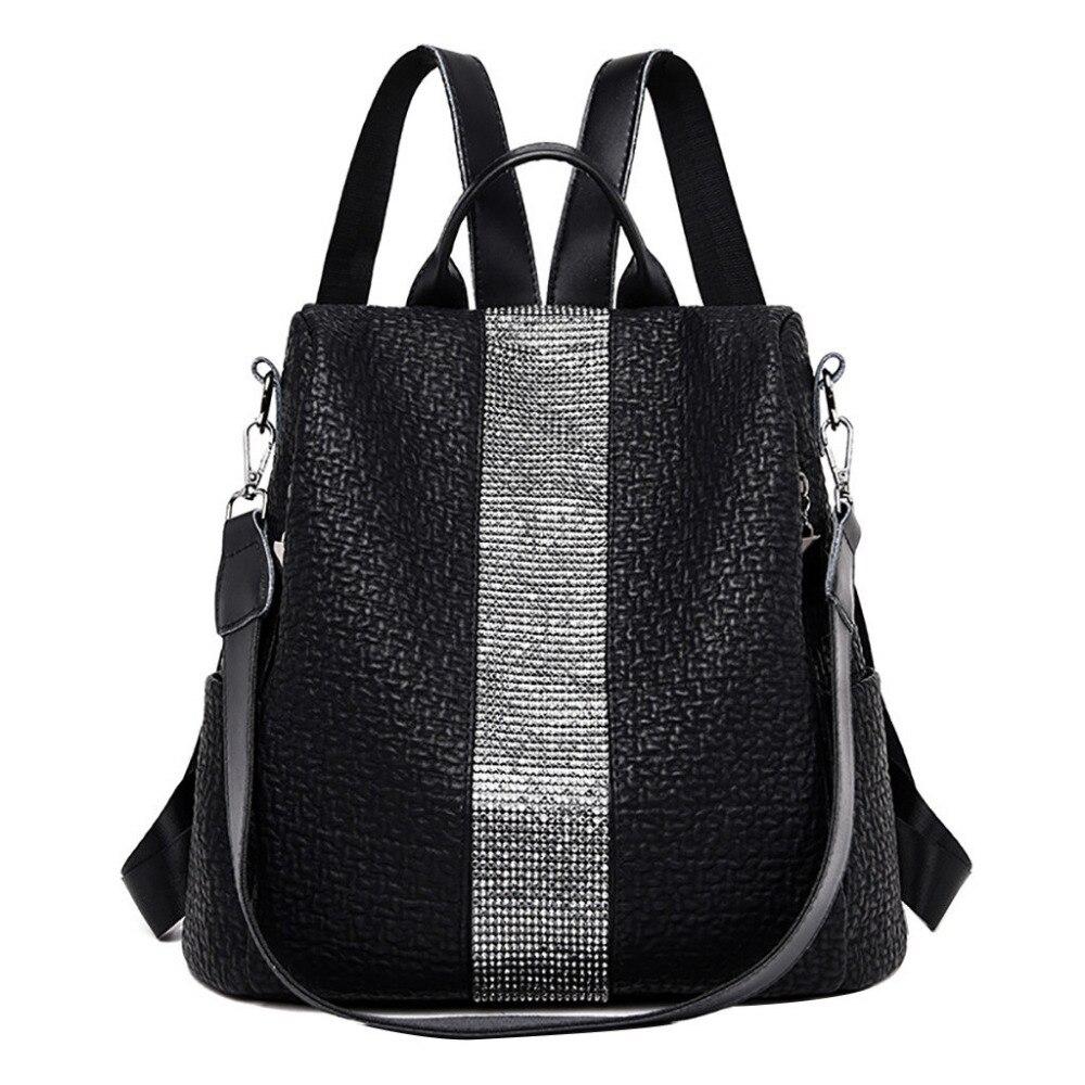 Women Backpack Soft Solid Korean Style Feminine Bac