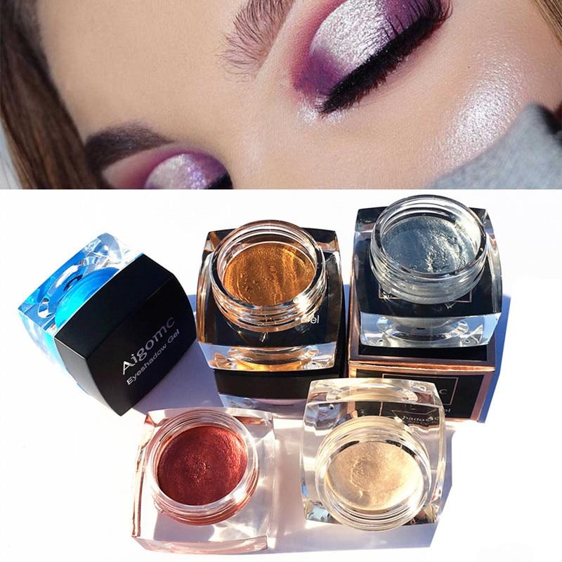AIGOMC 6 Colors Shimmer Highlighter 3D Shine Eyeshadow Aurora Chameleon Highlighting Eye shadow Gel Beauty Cosmetics