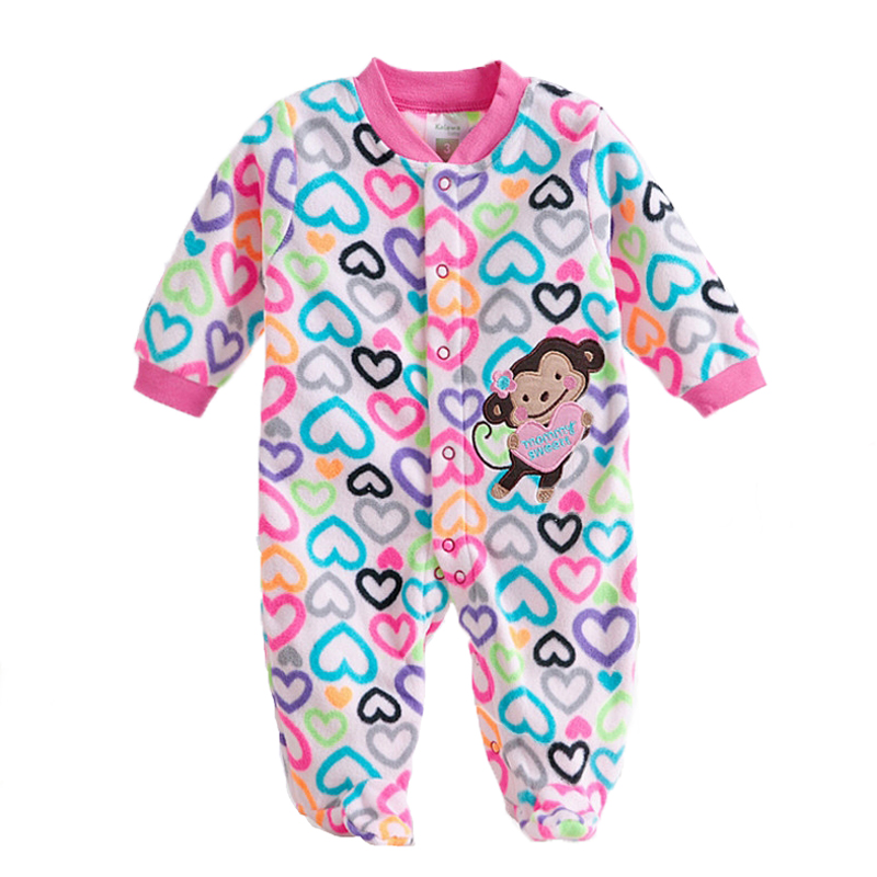 8bf872f6f883 Autumn Fleece Baby Rompers Cute Pink Clothing Jumpsuits Footed Coverall