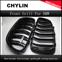 For BMW F10 5 Series 520i 523i 525i 530i 535i 2010 2014 Glossy Black Dual Slat M5 Style Front Kidney Grille Grill Wholesale D10