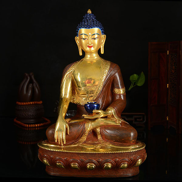 33cm LARGE # GOOD # Buddhist Disciple Efficacious Safety Protection Tibet Nepal Gold-plated Shakya Mani Brass Buddha Statue