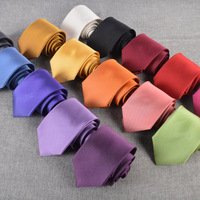 Men's casual fashion tie silk tie business dress men's tie silk solid color tie multicolor optional