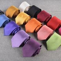 Men's casual fashion tie silk tie business dress men's tie silk solid color tie multicolor optional
