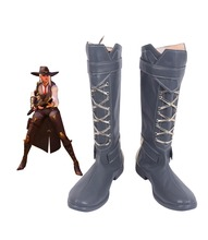 Ashe Elizabeth Caledonia Calamity Grey Cosplay Boots OW Shoes Custom Made