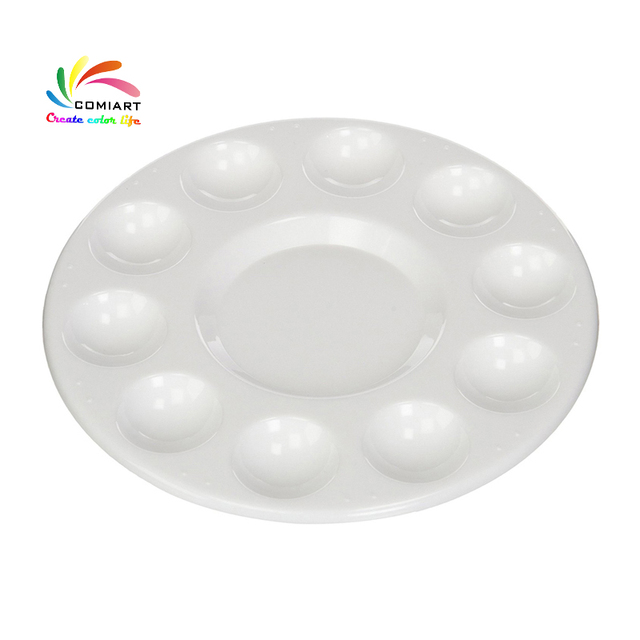 Comiart Generic Round Professional Plastic Painting Palette White Paint Plate Tray