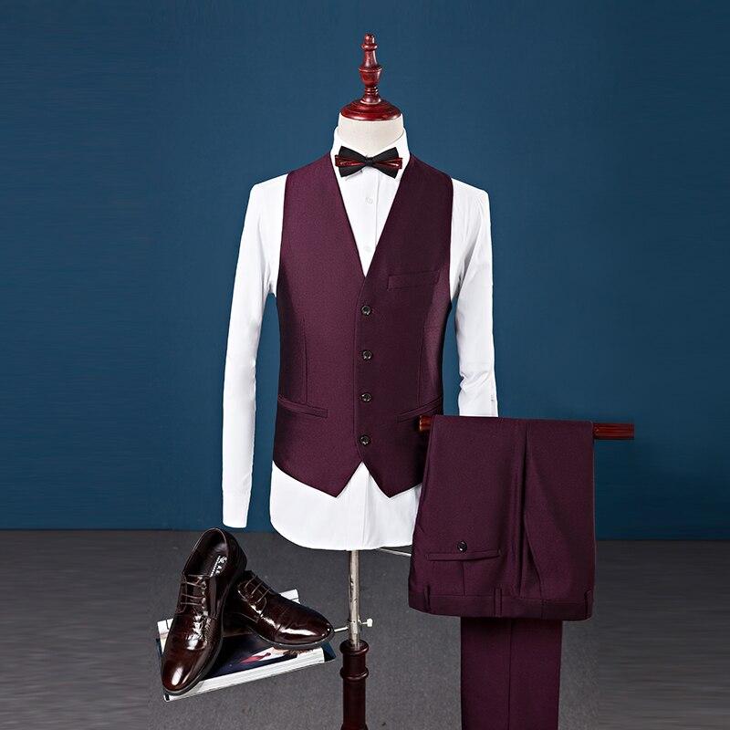 Известный бренд мужские темно-Костюмы Свадебные Жених плюс комплект из 3 предметов (куртка + жилет + штаны) slim Fit Повседневное блейзер Мужской...