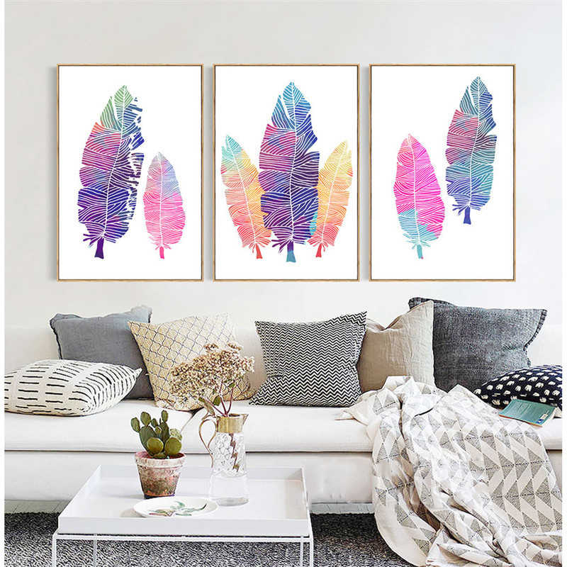 Nordic Simple Art Prints Pictures HD Abstract Colorful Leaves Posters Feather Canvas Painting Pop Photo Wall Art Home Decoration