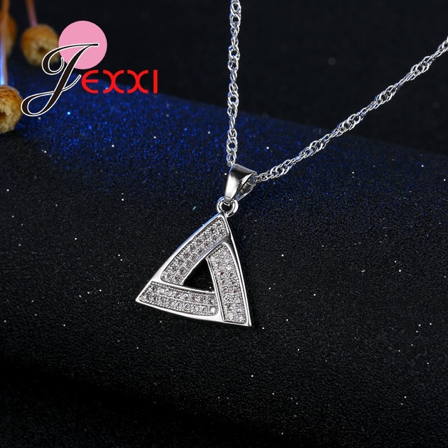 JEXXI 2017 Geometric Triangle Clear Micro Cubic Zircon Rhinestone 925 Sterling Silver Jewelry Sets For Woman Party Accessory