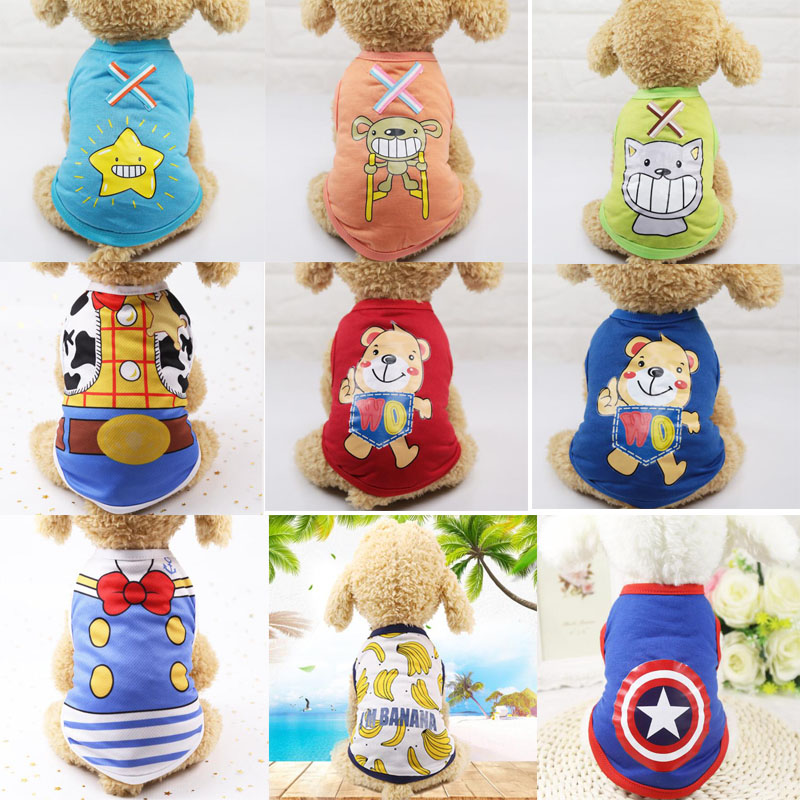 25 Styles Dog Shirt Pet Puppy Dog Cat Vest Summer Cotton Cartoon Pattern Dog Clothes Hoodies Clothing Pug Poodle Costumes Tshirt