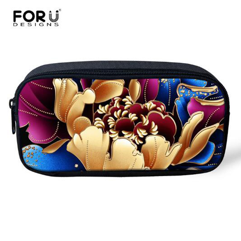 FORUDESIGNS Small Size Women Make Up Bags,Flower Print Mini Cosmetic Case For Girls,Female Pouch Storage Organizer Makeup Bags