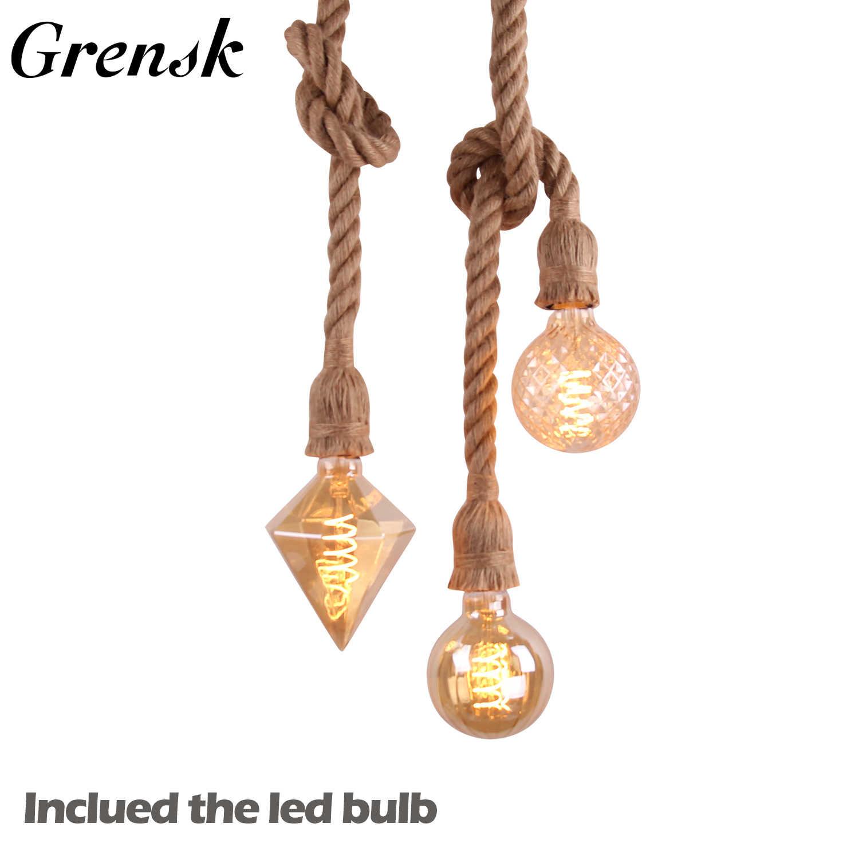 Grensk E26 E27 винтажный подвесной светильник из пеньковой веревки с двойной головкой, промышленный подвесной светильник для дома в деревенском стиле, для ресторана, бара, кафе, светильник ing