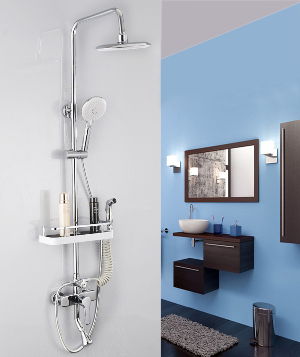 Bathroom Shelf Organizer Rack, Shower Caddy with Hooks Detachable ...