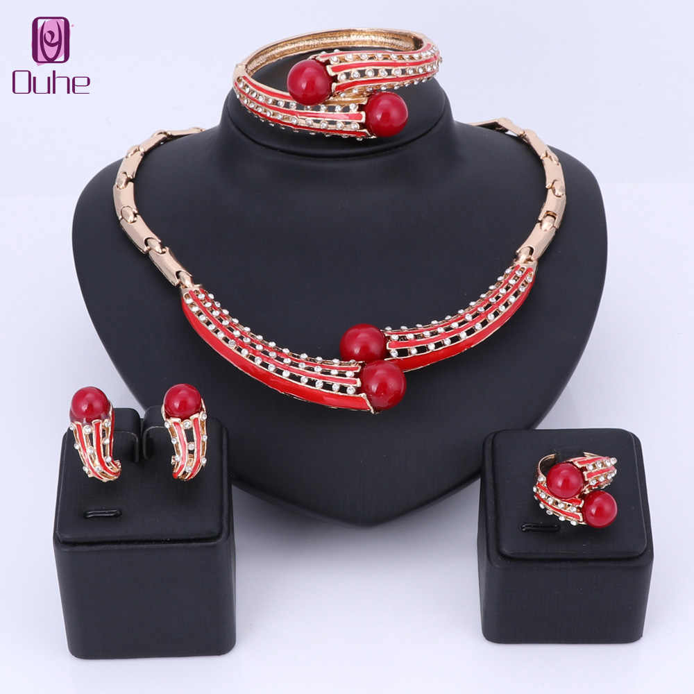 Imitation Pearl Jewelry Sets For Women African Beads Jewelry Set Wedding Crystal Bridal Dubai Necklace Earring Jewelery Costume