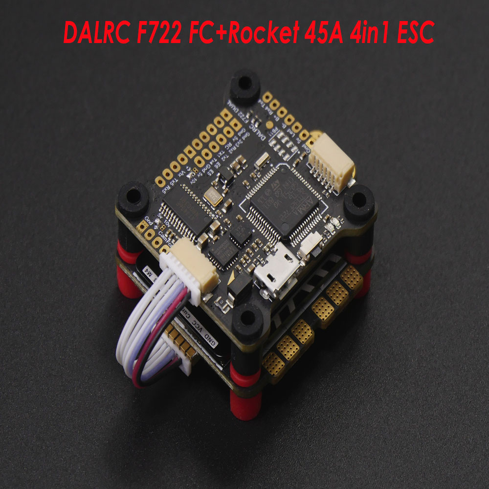 DALRC Rocket 45A 4in1 ESC 3-6S Blheli_32 DSHOT1200 Ready 4 In 1 Brushless ESC 30.5*30.5mm with  F722 DUAL F7 Flight Controller