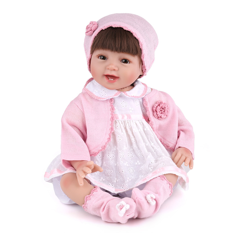 22inch  lovely Soft Silicone Reborn Baby Doll Toys Lifelike Newborn Girls Babies Play House Bedtime Toy Fashion Brithday Gifts soft silicone reborn baby dolls toys for girls lifelike birthday present gifts cute newborn boy babies bedtime play house toy