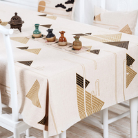 Thick Linen Tablecloth Cover Chinese style Simple modern Pattern 8841 Table decor Restaurant Dining Wedding TV Home Decorative