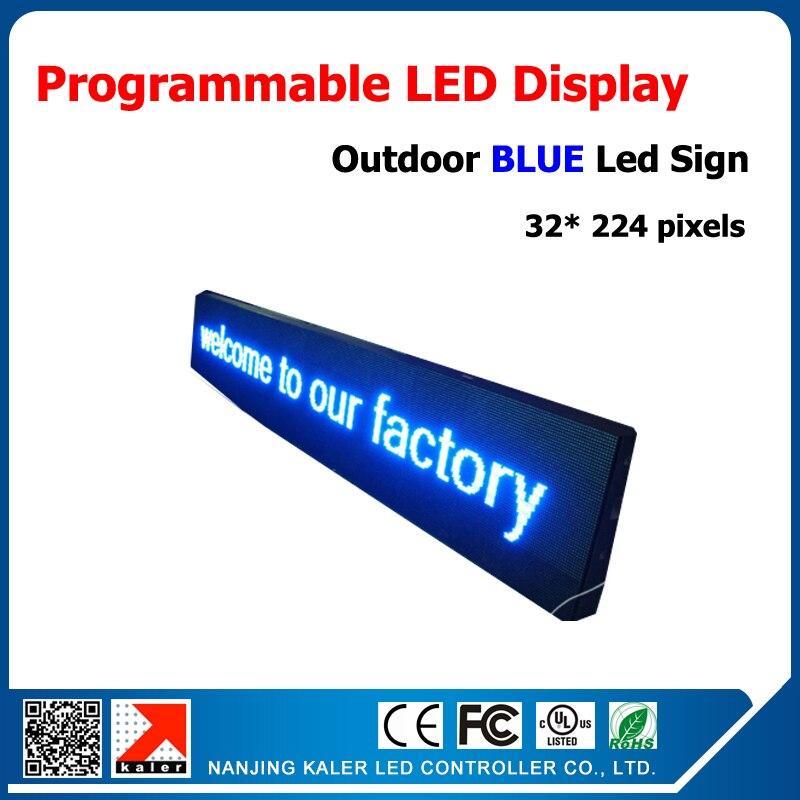 40*232 cm bleu extérieur panneau led P10 32*16 pixel led écran d'affichage étanche écran publicitaire à led texte en cours d'exécution