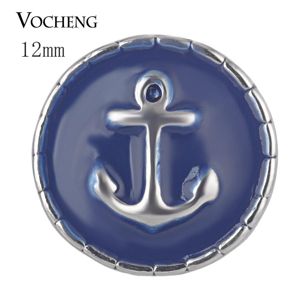 Vocheng gingembre bouton pression Petite ancre 12mm peint conception breloques Vn-1699