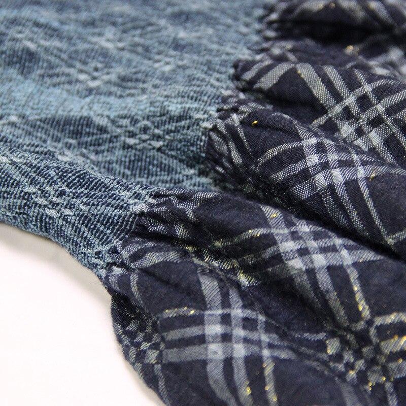 Bleu Vintage À Élastique Automne Femmes Printemps Taille Jupe Indie Folk Ample Vêtements Plaid Plissé mollet Mi Femelle Patchwork Longueur Jupes SHq71