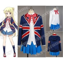 Kiniro Mosaic Karen Kujo School Girls Uniform Coat Shirt Dress Socks Bowtie Halloween Cosplay Costumes For Women