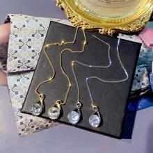 цены на DREJEW Crystal Chain Water Drop Rhinestone Gold Silver Statement Earrings 2019 925 Drop Earrings Sets for Women Jewelry HE507