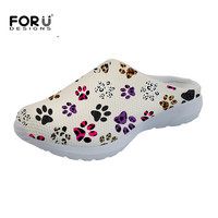 FORUDESIGNS Casual Women's Summer Slippers Colorful Cartoon Paw Print Lightweight Slip On Sandals for Female Girls Comfort Shoes