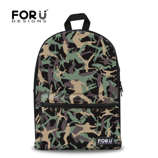 FORUDESIGNS Stylish Teenager Backpack Casual Men Male Camouflage Backpack School Children Travel Pack With Double Zipper