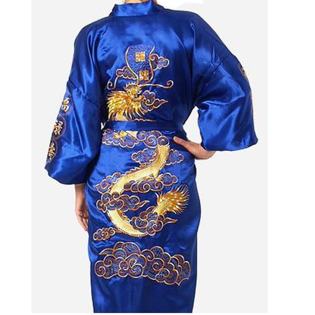 Envío Libre Azul de Los Hombres Chinos de Satén de Seda Bordado Robe Kimono Vestido Del baño Del Dragón Tamaño Sml XL XXL XXXL S0009