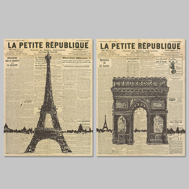 Old Newspaper Paris Eiffel Tower decoration wall art
