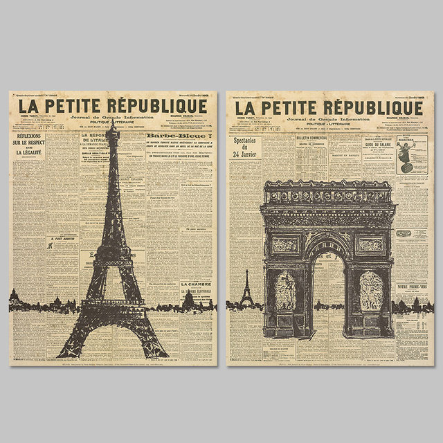 Old Newspaper Paris Eiffel Tower decoration wall art pictures poster  Triumphal arch Canvas Painting living room
