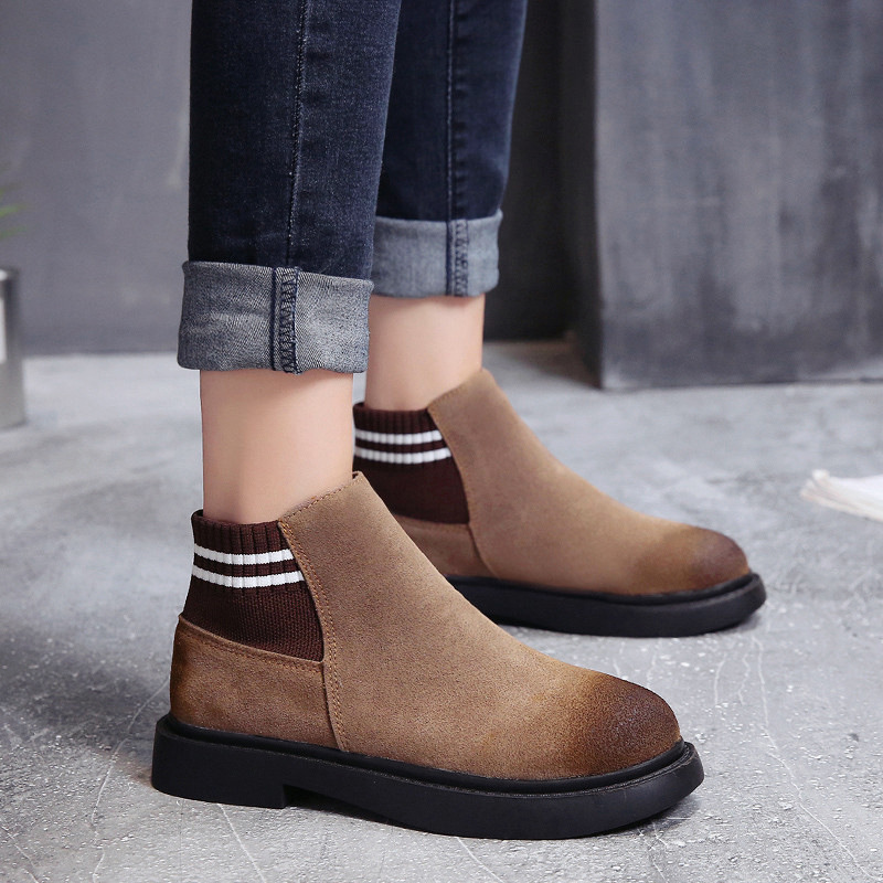 The new autumn 2018 Martin boots flat short tube with restoring ancient ways round head women's boots 37