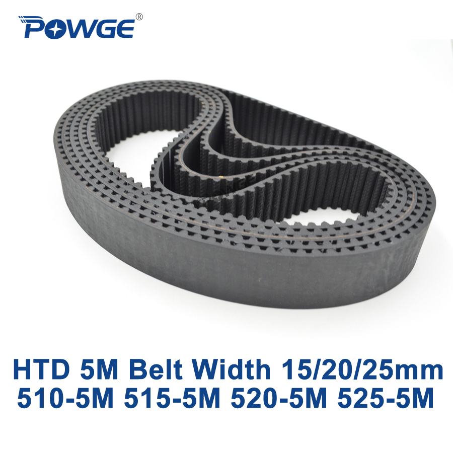 POWGE HTD 5M Timing belt C=510/515/520/525 width 15/20/25mm Teeth 102 103 104 105 HTD5M synchronous Belt 510-5M 515-5M 525-5M
