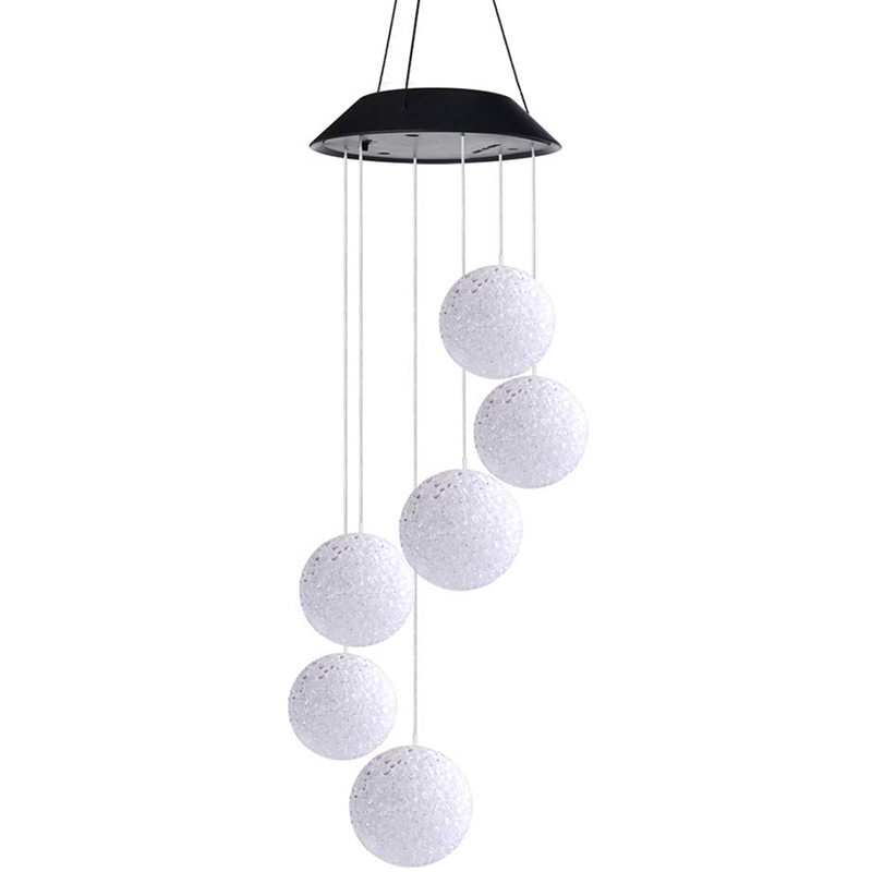 Wind Chimes Outdoor,Solar Color Changing Led Light Lamp Six Balls Mobile Romantic Wind-Bell For Home, Party, Festival Decor, Nig