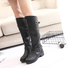 Classic Knee High Boots Women Soft Leather Winter Boots High Quality Warm Fur Low Heel Botas Shoes Woman Long Boots Plus Size 43