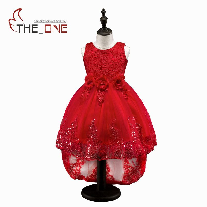 Girls Princess Party Dresses Children Rose Flower Floor Length Sequins Lace Tutu Dress Kids Girl Full Length Dress Costume Cloth