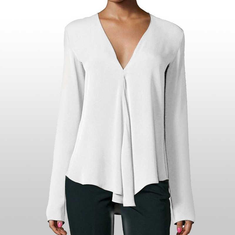 Jocoo Jolee 가을 빈티지 여성 쉬폰 블라우스 셔츠 v 넥 긴 소매 여성 튜닉 캐주얼 플러스 사이즈 블라우스 여성 탑 6XL
