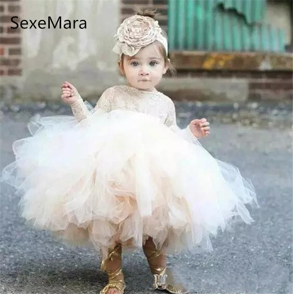 Lovely Light Champagne Baby Infant   Girls   Birthday   Dress   Baptism Clothes   Flower     Girl     Dresses   Long Sleeves Lace Tutu Ball Gowns