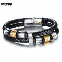 AMOURJOUX Gold White Color Two Layers Braided Genuine Leather Charm Bracelets For Men Stainless Steel Magnet