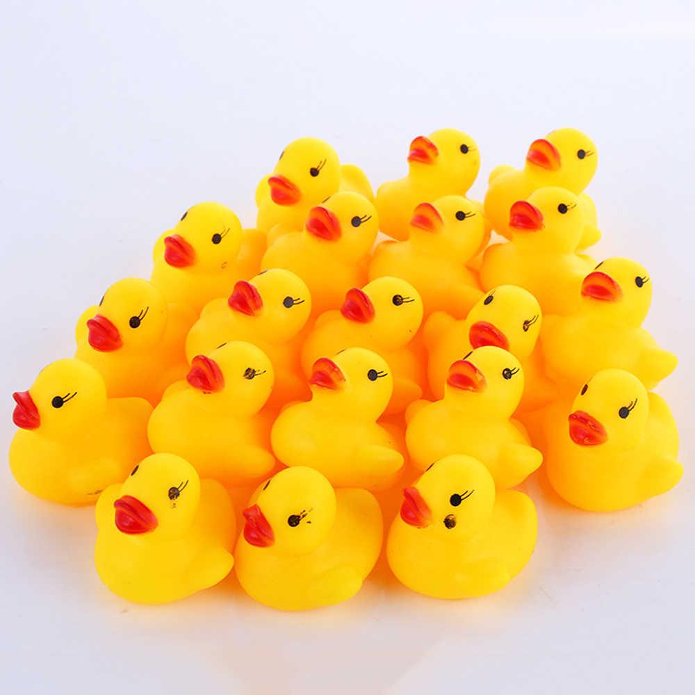 100 шт/партия писклявый резиновый утка Duckie Игрушки для ванны Детские игрушки для душа для детей подарок на день рождения Бесплатная доставка