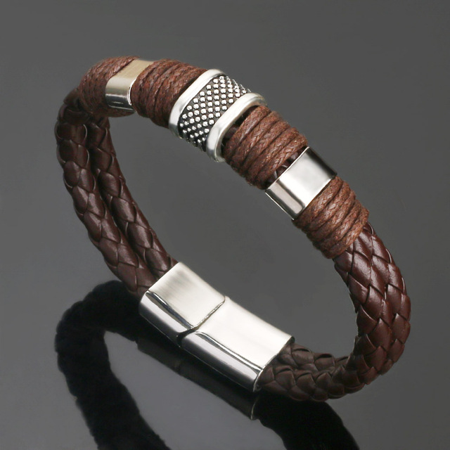 2018 new Jewelry Punk 2 color Zinc Alloy Accessories Weave Genuine leather Men braided  Bracelet male Bangles pulseras hombre 1