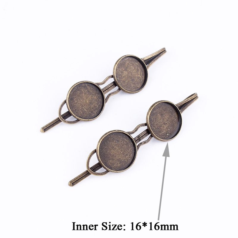 Fit 16&16x2mm Hair Clip Length 71mm Antique Bronze Pendants Setting Cabochon Cameo Base Tray Bezel Blank DIY Jewelry Finding